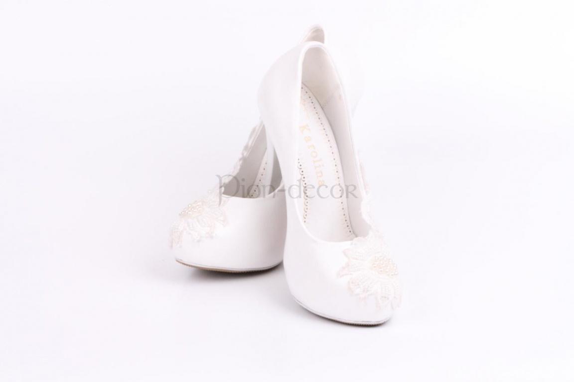 Свадебные туфли с кружевом айвори и жемчужинками - Pion-decor