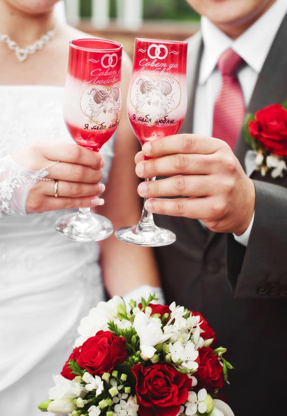 Свадебные бокалы с росписью