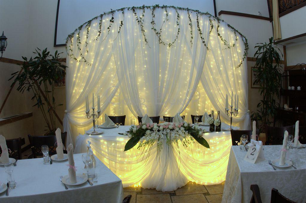Варианты оформления президиума молодоженов на свадьбе