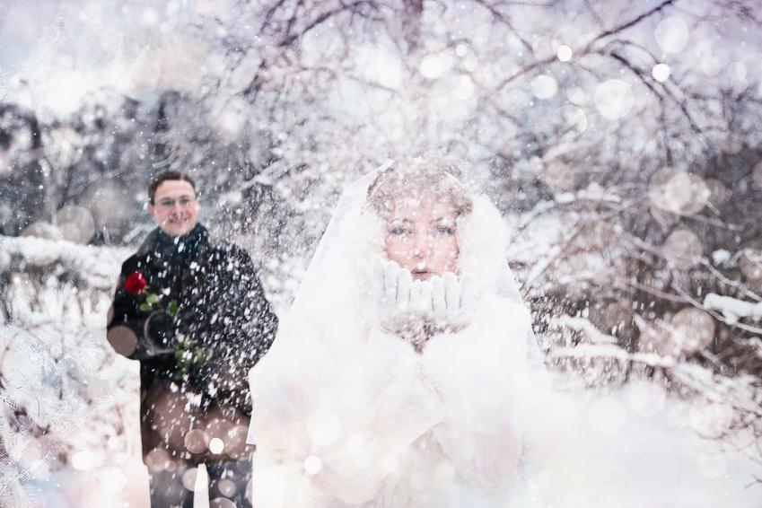 Идеи для фото свадебных колец зимой