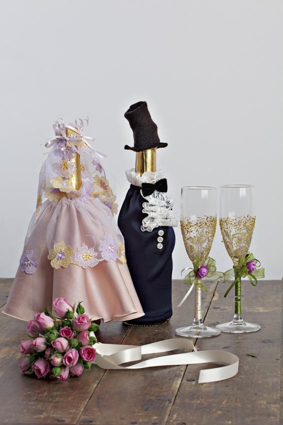 Оформление бутылок для свадьбы своими руками