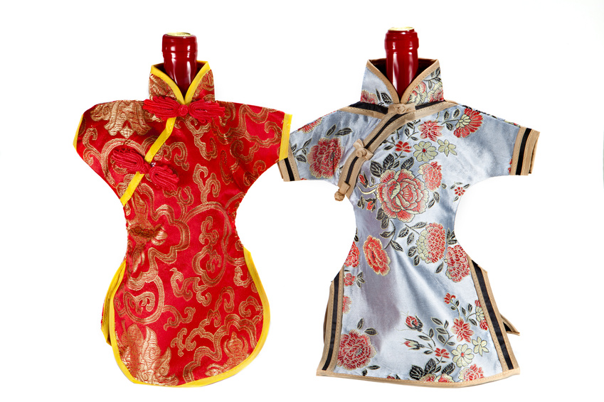 Декор шампанского в китайском стиле