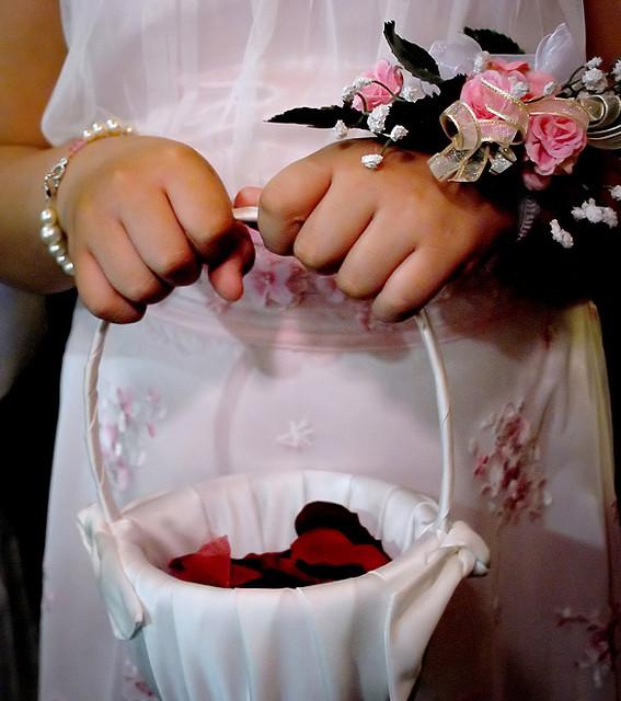 Украшение свадебной корзины