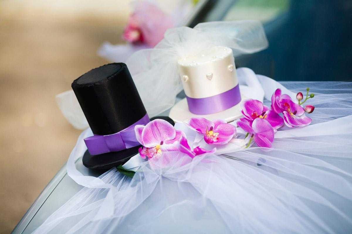 Аксессуары для оформления свадебных машин - шляпки