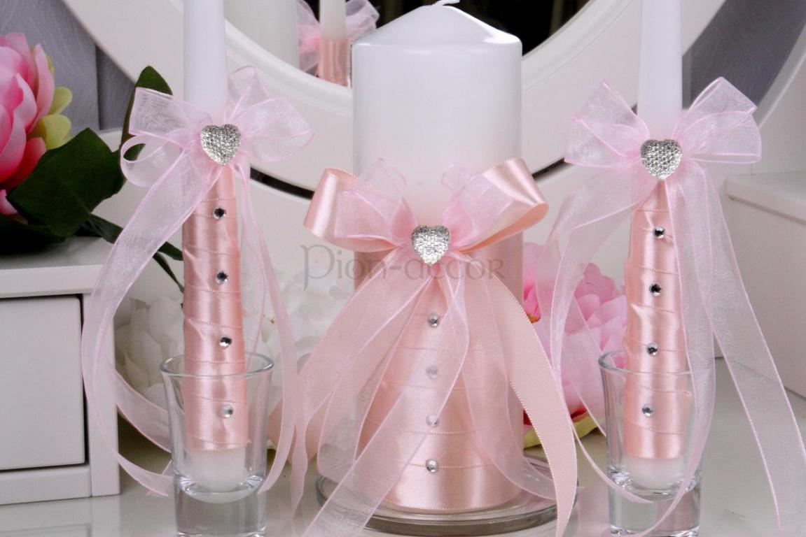 Украшение свадебных свечей