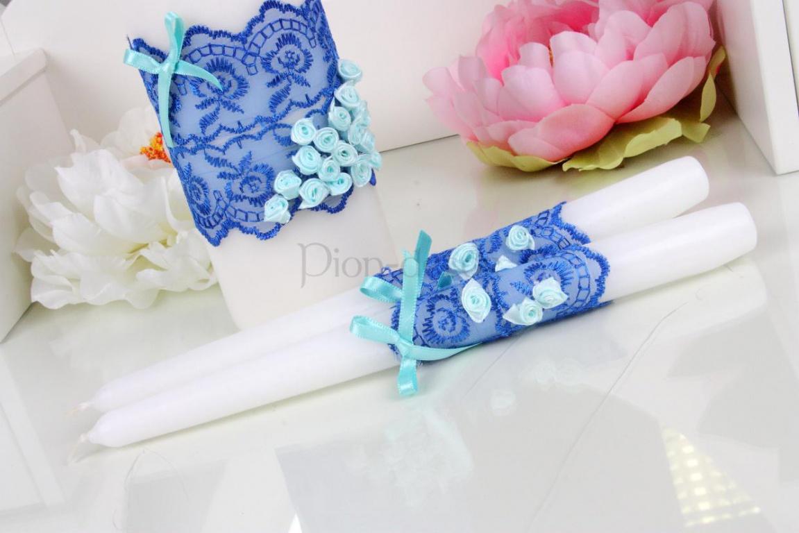 Декорирование свадебных свечей с помощью лент и тканей