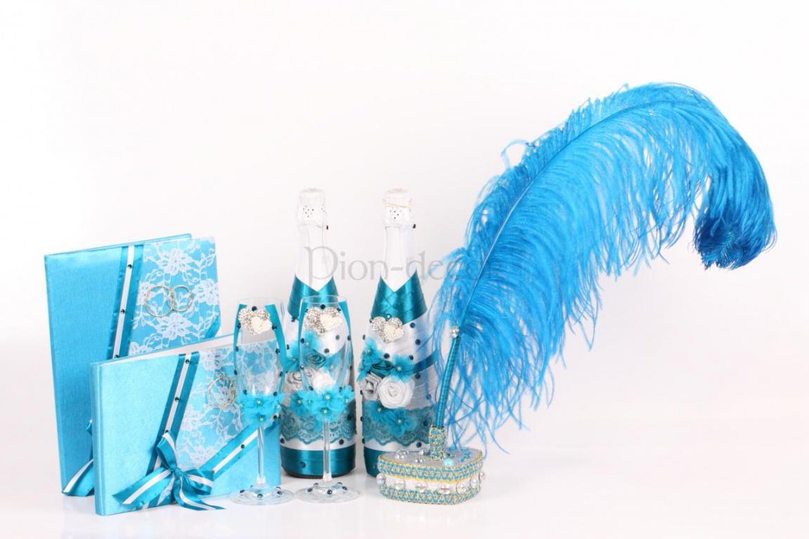 Набор свадебных аксессуаров бирюзового цвета
