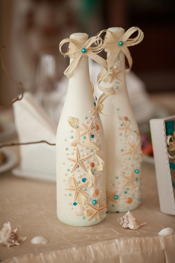 Украшение своими руками свадебного шампанского