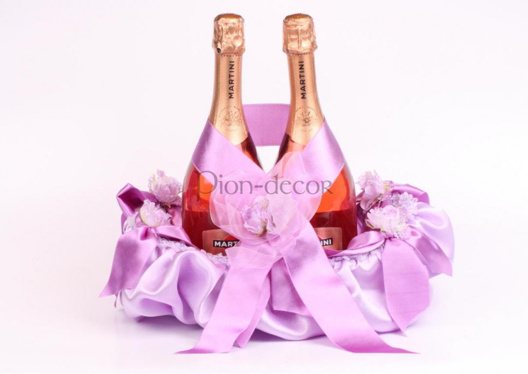 Оригинальное оформление свадебного шампанского