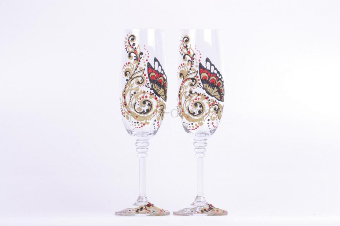 Роспись свадебных бокалов