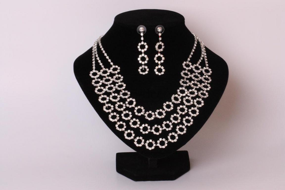Набор бижутерии на свадьбу: ожерелье и серьги